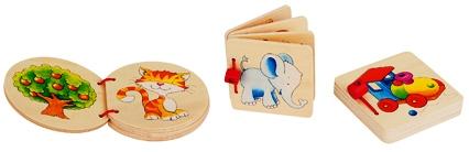 D 8658604 Houten boekje; olifant, huis en locomotief