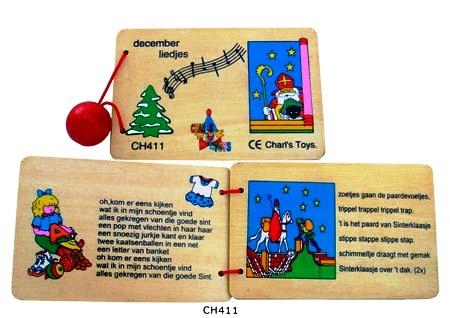 CT CH 411 Houten boekje met Kerst en Sinterklaas liedjes